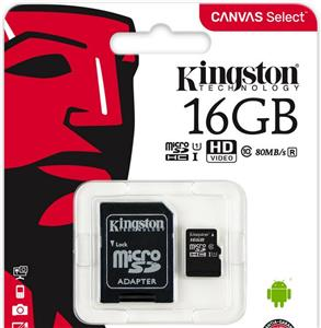 Memorijska kartica Kingston 16GB microSDXC Canvas Select Class 10 UHS-I 80MB/s Read Card + SD Adapter