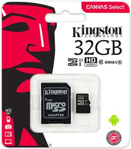 Memorijska kartica Kingston 32GB microSDXC Canvas Select Class 10 UHS-I 80MB/s Read Card + SD Adapter