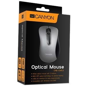 Miš Canyon CNE-CMS3 (Wired, Optical 800 dpi, 3 btn, USB), Silver